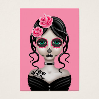 Sad Day of the Dead Girl on Pink Business Card