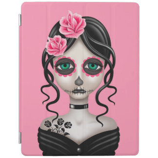 Sad Day of the Dead Girl on Pink iPad Cover