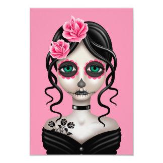 Sad Day of the Dead Girl on Pink Custom Invites