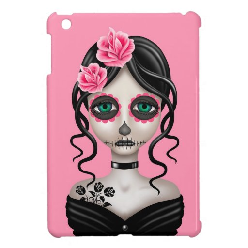 Sad Day of the Dead Girl on Pink Case For The iPad Mini