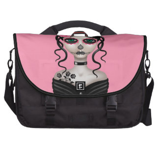 Sad Day of the Dead Girl on Pink Laptop Commuter Bag