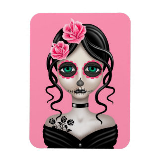 Sad Day of the Dead Girl on Pink Magnet