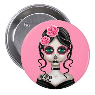 Sad Day of the Dead Girl on Pink Pinback Button