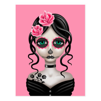 Sad Day of the Dead Girl on Pink Postcard