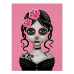 Sad Day of the Dead Girl on Pink Poster