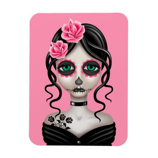 Sad Day of the Dead Girl on Pink Vinyl Magnet