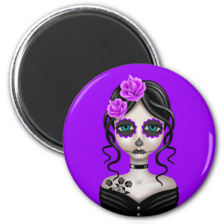 Sad Day of the Dead Girl on Purple 2 Inch Round Magnet