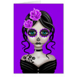 Sad Day of the Dead Girl on Purple Greeting Cards