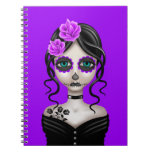Sad Day of the Dead Girl on Purple Notebook
