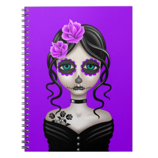 Sad Day of the Dead Girl on Purple Journals