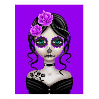 Sad Day of the Dead Girl on Purple Postcard
