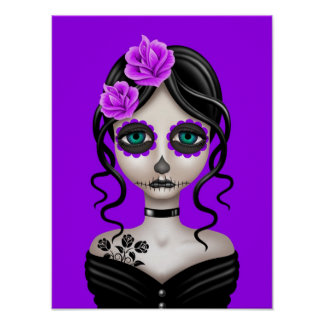 Sad Day of the Dead Girl on Purple Poster
