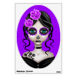Sad Day of the Dead Girl on Purple Wall Sticker