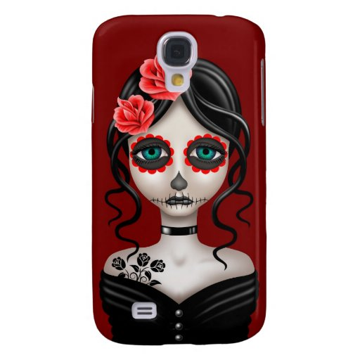 Sad Day of the Dead Girl on Red Samsung Galaxy S4 Cases