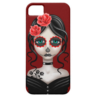 Sad Day of the Dead Girl on Red iPhone 5 Cases