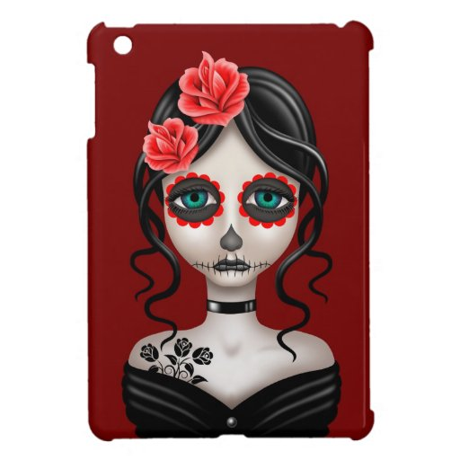Sad Day of the Dead Girl on Red iPad Mini Cover