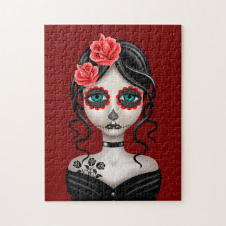 Sad Day of the Dead Girl on Red Jigsaw Puzzle