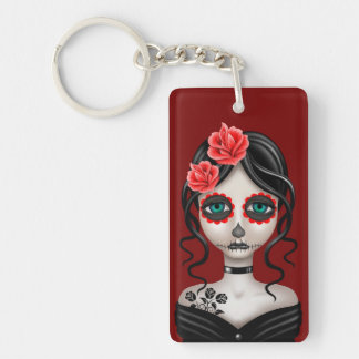 Sad Day of the Dead Girl on Red Rectangle Acrylic Keychains