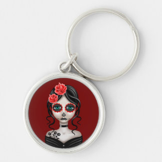 Sad Day of the Dead Girl on Red Keychains