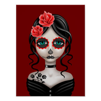 Sad Day of the Dead Girl on Red Poster