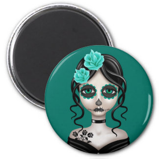 Sad Day of the Dead Girl on Teal Blue 2 Inch Round Magnet