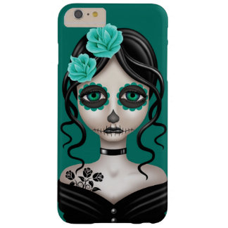 Sad Day of the Dead Girl on Teal Blue Barely There iPhone 6 Plus Case