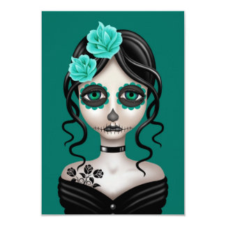 Sad Day of the Dead Girl on Teal Blue Custom Announcement