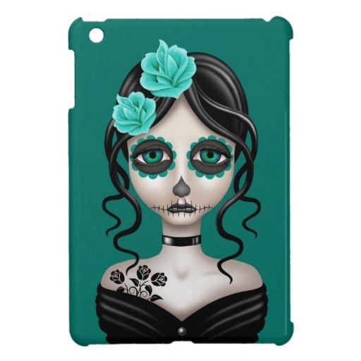 Sad Day of the Dead Girl on Teal Blue iPad Mini Cover