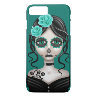 Sad Day of the Dead Girl on Teal Blue iPhone 8 Plus/7 Plus Case