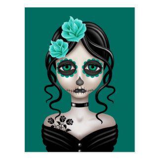 Sad Day of the Dead Girl on Teal Blue Postcard