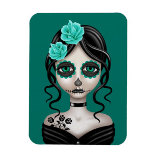 Sad Day of the Dead Girl on Teal Blue Rectangular Magnets