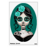 Sad Day of the Dead Girl on Teal Blue Wall Sticker