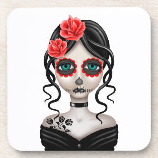 Sad Day of the Dead Girl on White Coaster