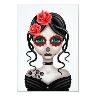 Sad Day of the Dead Girl on White Custom Invitations