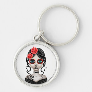 Sad Day of the Dead Girl on White Key Chain