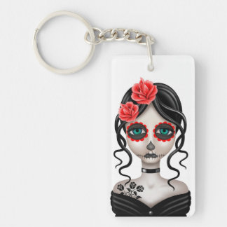 Sad Day of the Dead Girl on White Double-Sided Rectangular Acrylic Keychain