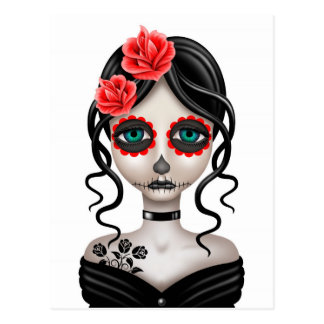 Sad Day of the Dead Girl on White Postcard