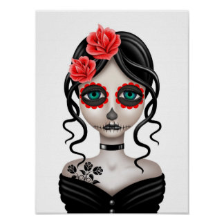 Sad Day of the Dead Girl on White Poster