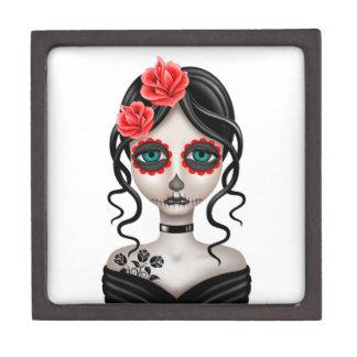 Sad Day of the Dead Girl on White Premium Trinket Boxes