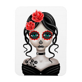 Sad Day of the Dead Girl on White Rectangle Magnets