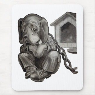 Sad Dog Can't Leave His Doghouse Mouse Pad