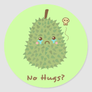 Sad Durian that gets no hugs Classic Round Sticker