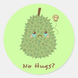 Sad Durian that gets no hugs Classic Round Sticker
