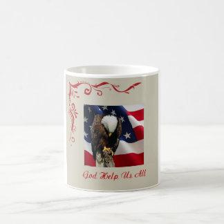 Sad Eagle on American Flag God Help Us All Coffee Mug