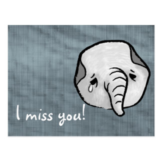 Sad elephant postcard