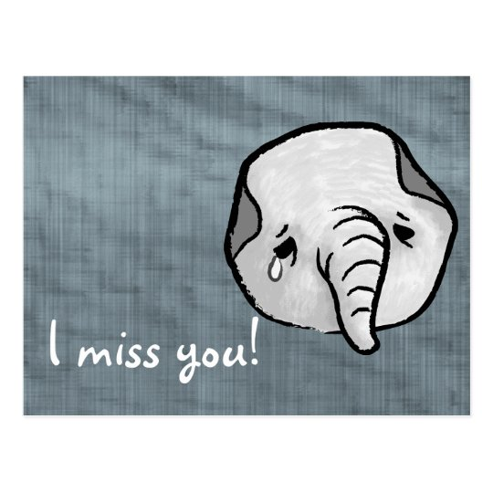 Sad elephant postcard
