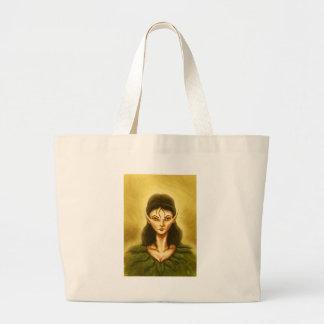 sad elf fantasy tote bags