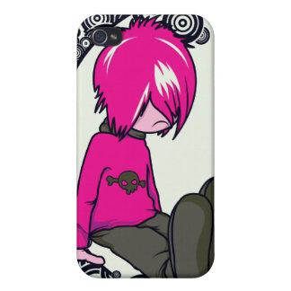 sad emo kid vector illustration iPhone 4 case