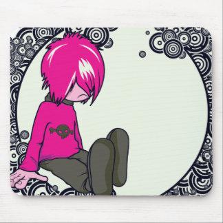 sad emo kid vector illustration mouse pads