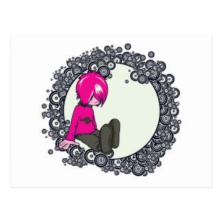 sad emo kid vector illustration postcard